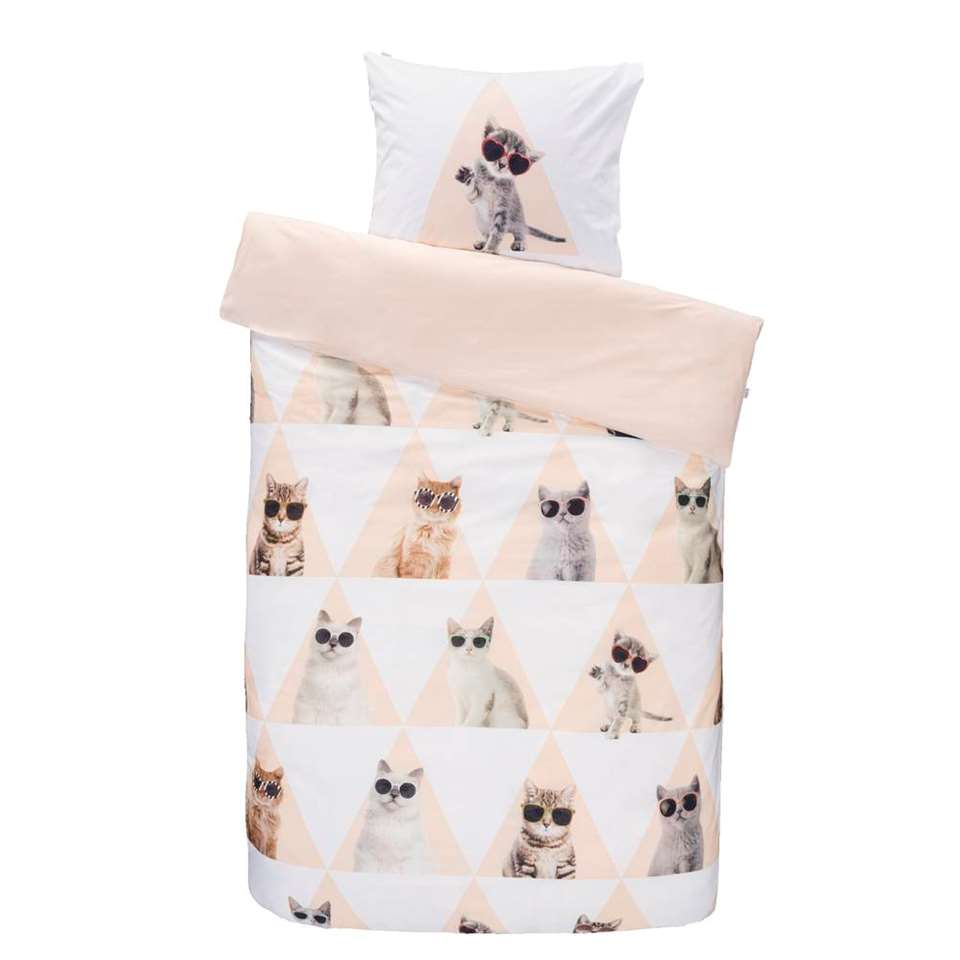 Covers & Co dekbedovertrek Cool Cat - roze - 140x200 cm