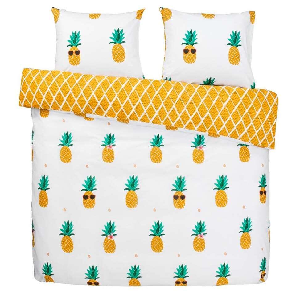 Covers & Co dekbedovertrek Pineapple - geel - 200x200 cm - Leen Bakker