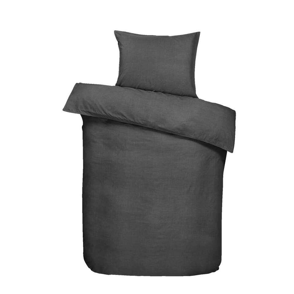 Essentials dekbedovertrek Dean - antraciet - 140x200 cm - Leen Bakker