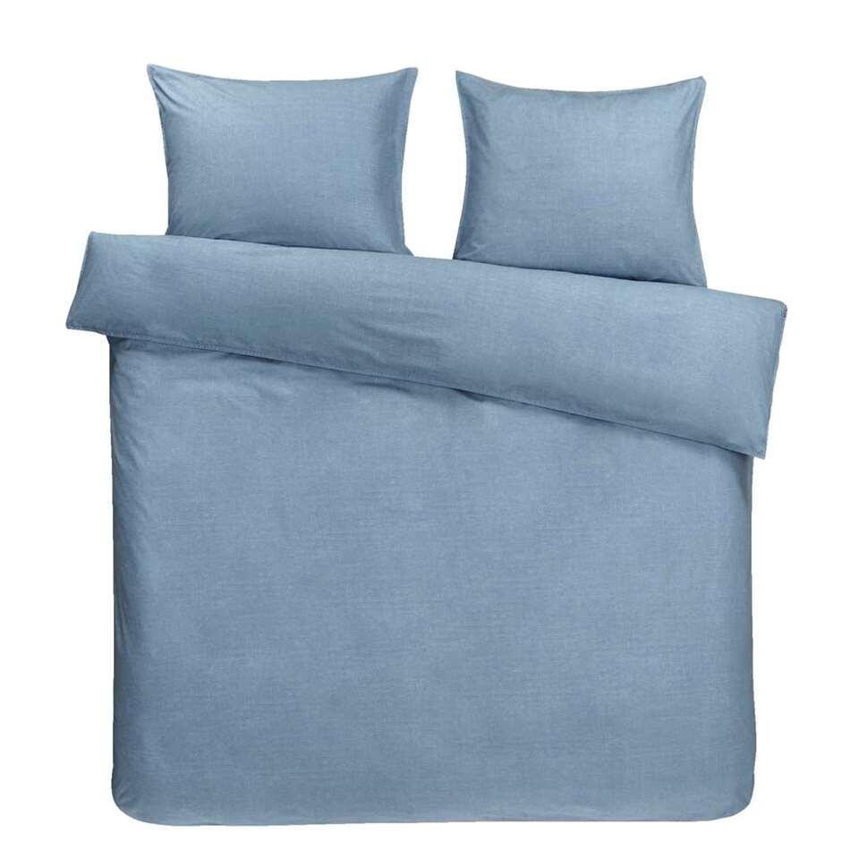 Essentials dekbedovertrek Dean - blauw - 240x200 cm - Leen Bakker