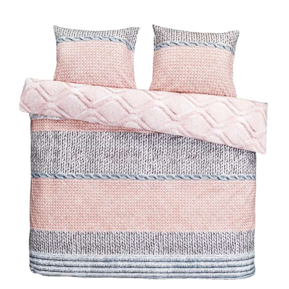 Dream dekbedovertrek Yolanthe - roze/grijs - 240x200/220 cm - Leen Bakker
