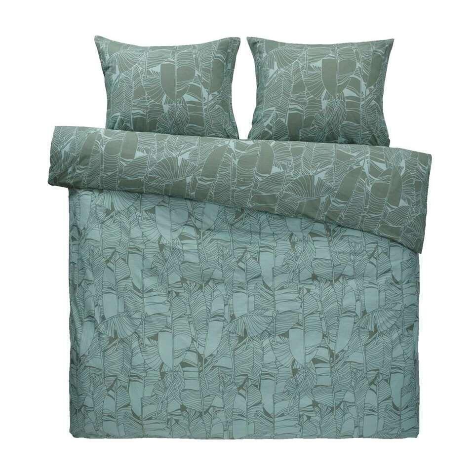 Essentials dekbedovertrek Erika - groen - 140x200 cm - Leen Bakker