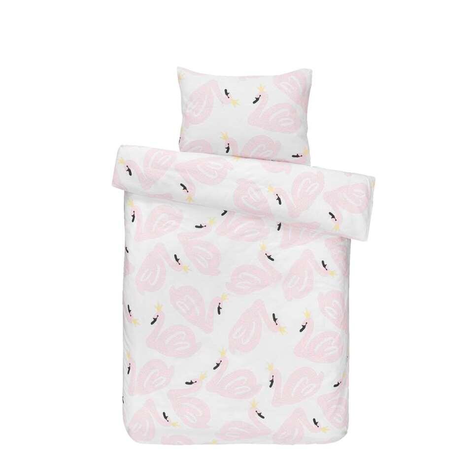 Dream dekbedovertrek Zwaantje - roze - 120x150 cm - Leen Bakker