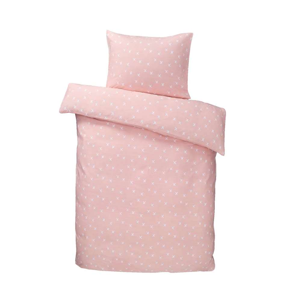 Essentials dekbedovertrek Chris - roze - 140x200 cm - Leen Bakker