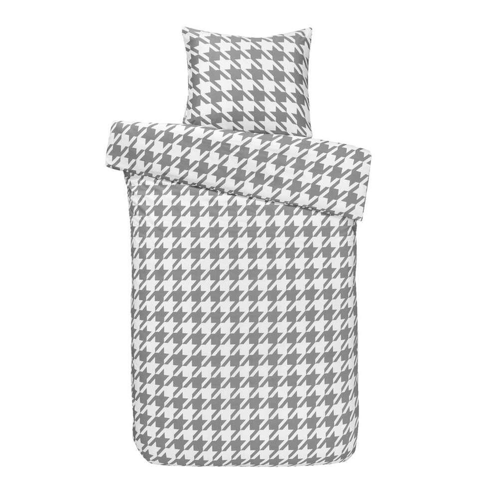 Royal dekbedovertrek Perth – wit/grijs – 140×250 cm – Leen Bakker