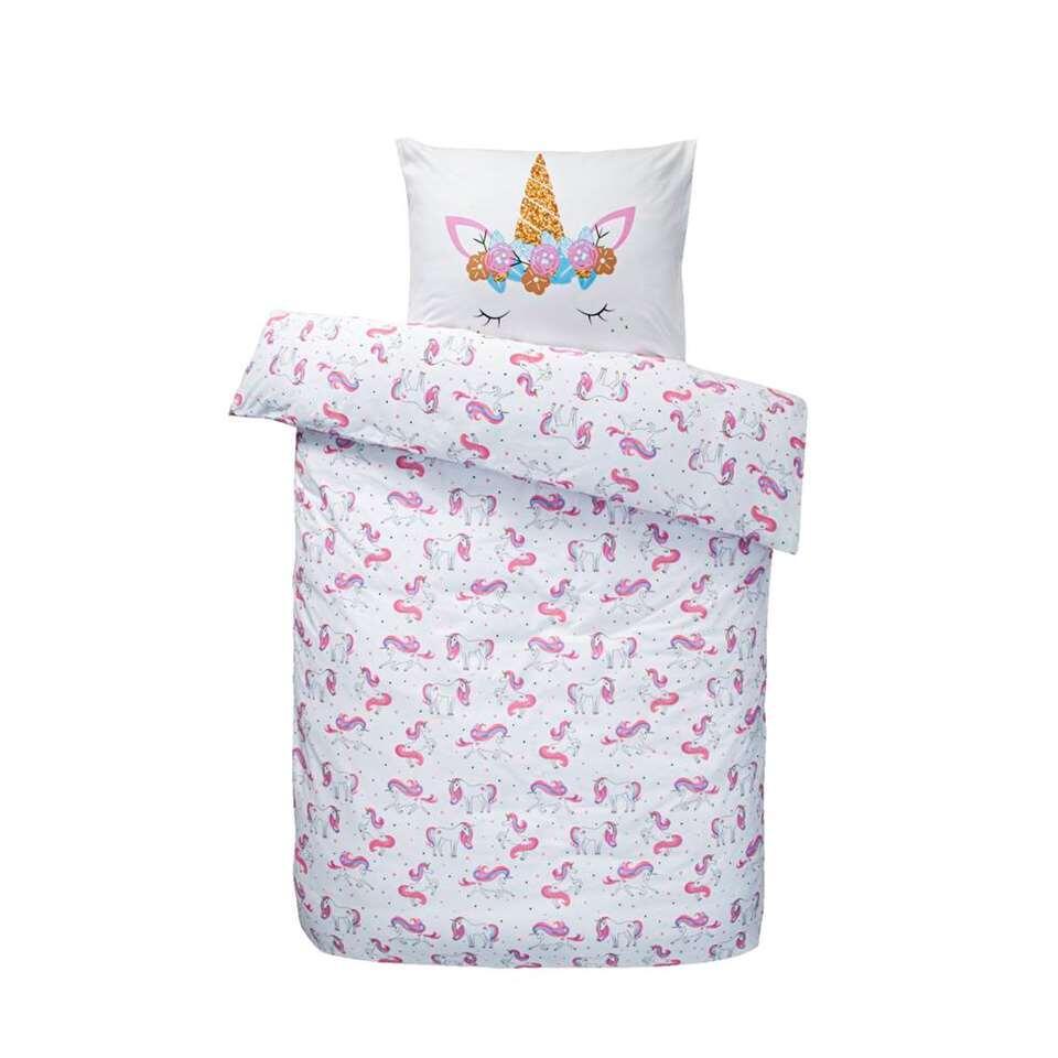 Comfort dekbedovertrek Charity - roze - 140x200 cm - Leen Bakker