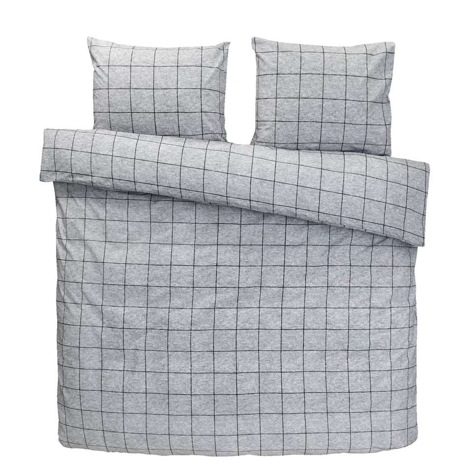 Comfort dekbedovertrek Seppe - grijs - 200x200/220 cm - Leen Bakker