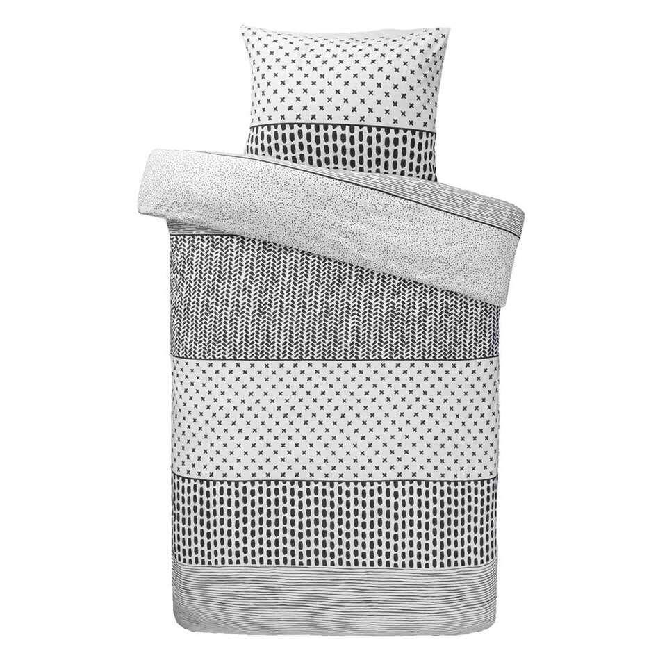 Comfort dekbedovertrek Melbourne - zwart/wit - 140x200/220 cm