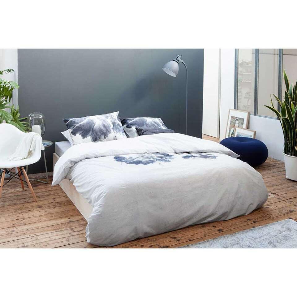 Walra dekbedovertrek Nature Blooms - lichtgrijs - 140x200/220 cm - Leen Bakker