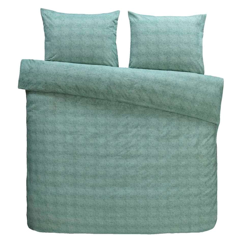 Comfort dekbedovertrek Jessie flanel - groen - 200x200/220 cm - Leen Bakker