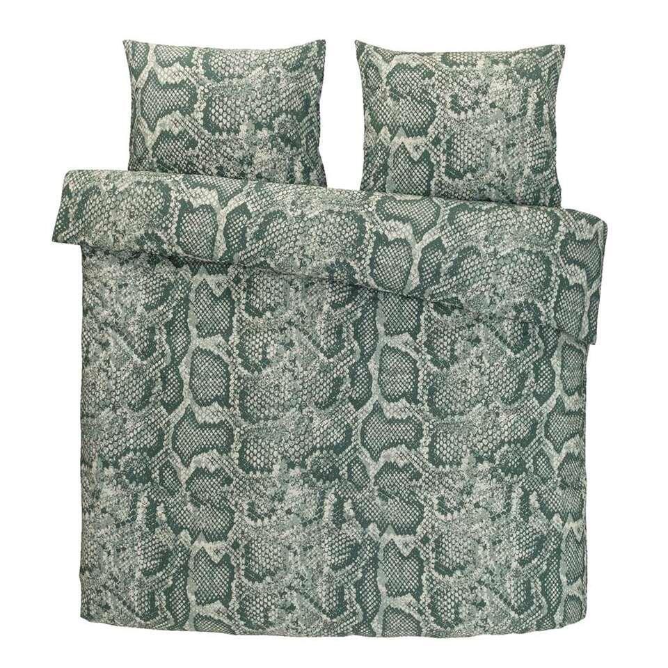 Comfort dekbedovertrek Cobra - groen - 200x200/220 cm - Leen Bakker