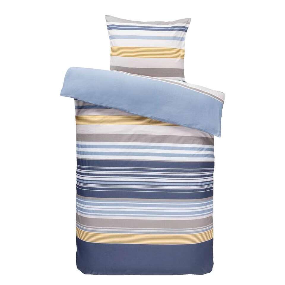 Comfort dekbedovertrek Gianni - blauw/oker - 140x200/220 cm - Leen Bakker