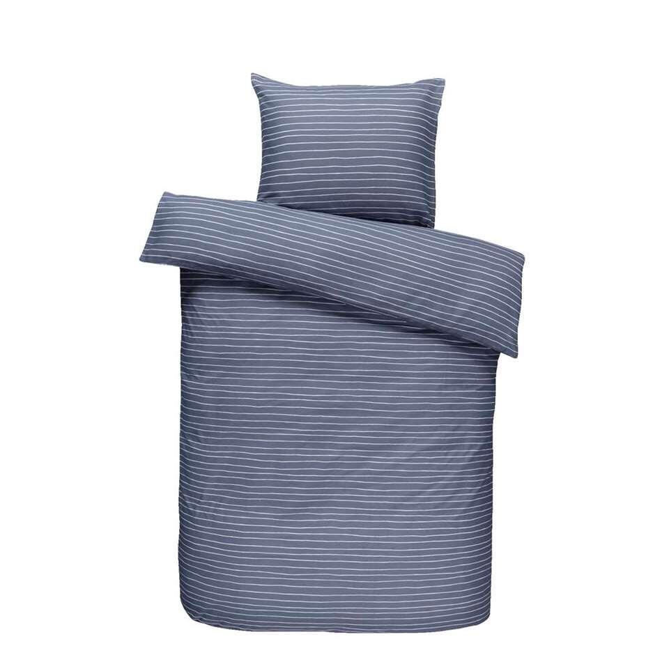 Easy dekbedovertrek Rees - grijsblauw - 140x200 cm - Leen Bakker