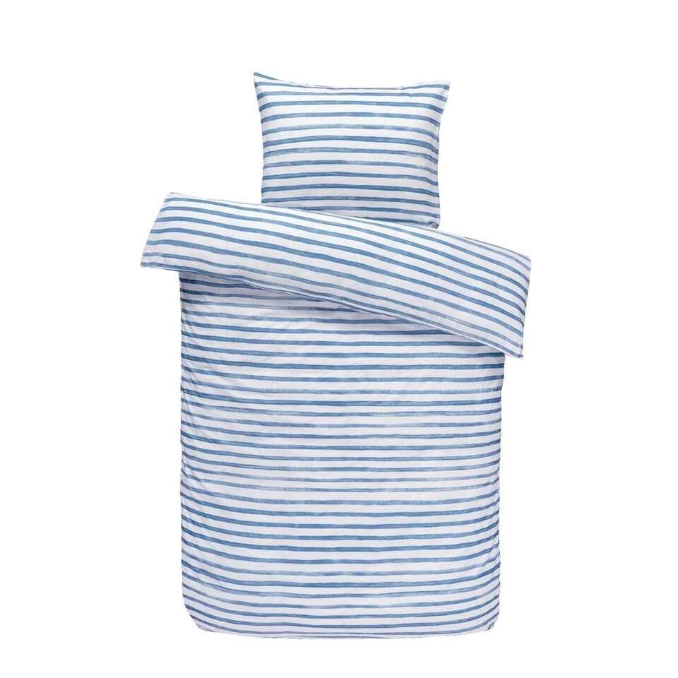 Easy dekbedovertrek Lucien - blauw/wit - 140x200/220 cm