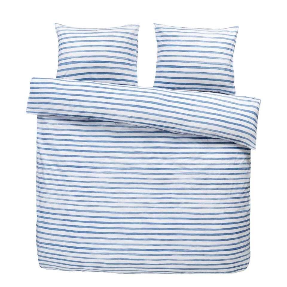 Easy dekbedovertrek Lucien - blauw/wit - 240x200/220 cm - Leen Bakker