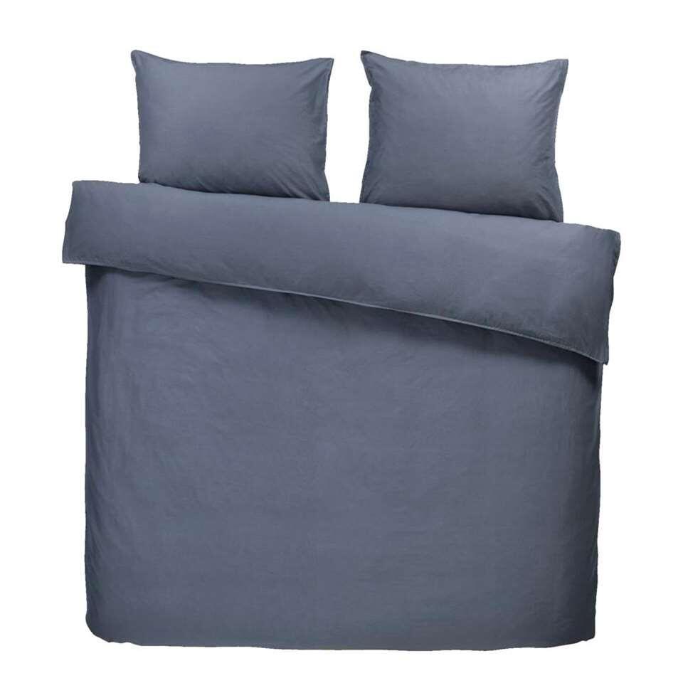 Comfort dekbedovertrek Ryan - grijsblauw -240x200/220 cm - Leen Bakker