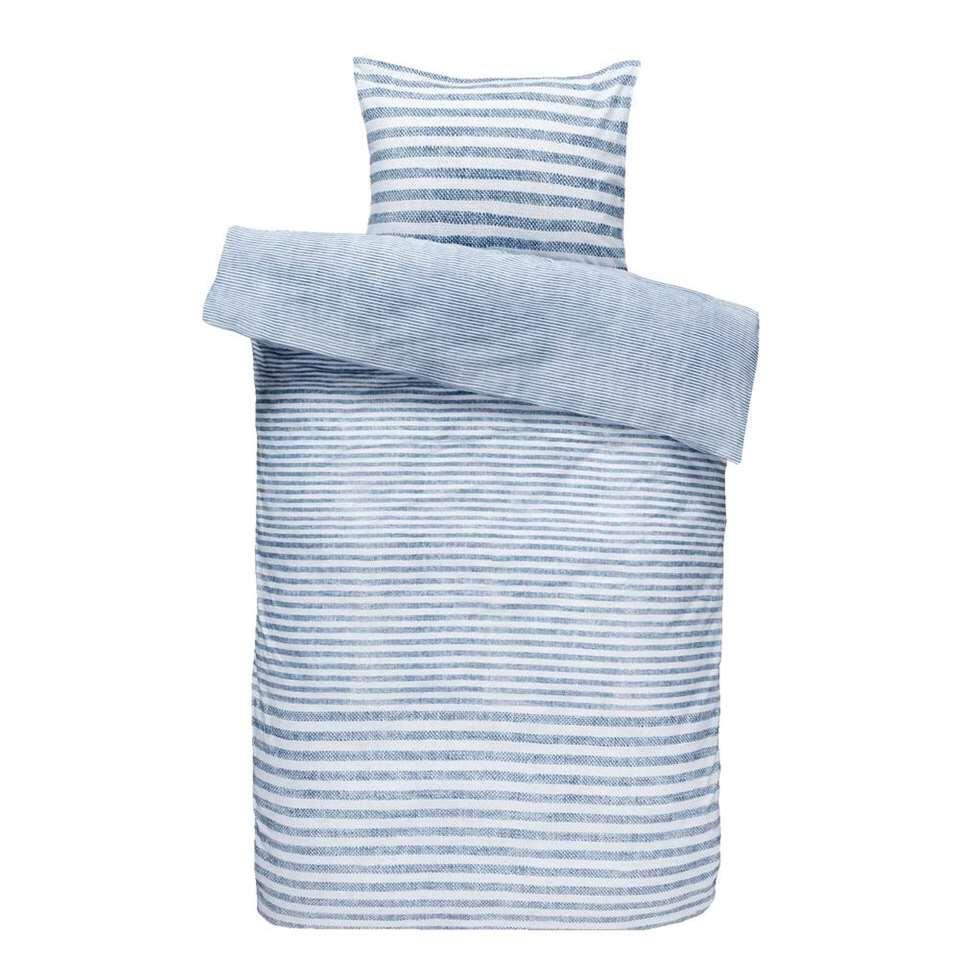 Comfort dekbedovertrek Xam - blauw - 140x200/220 cm - Leen Bakker