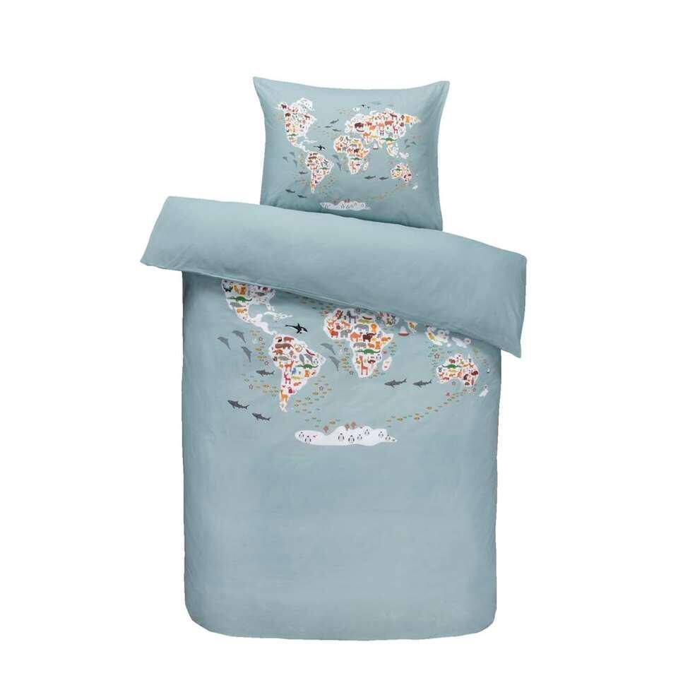 Comfort kinderdekbedovertrek Animals - blauw - 140x200 cm - Leen Bakker
