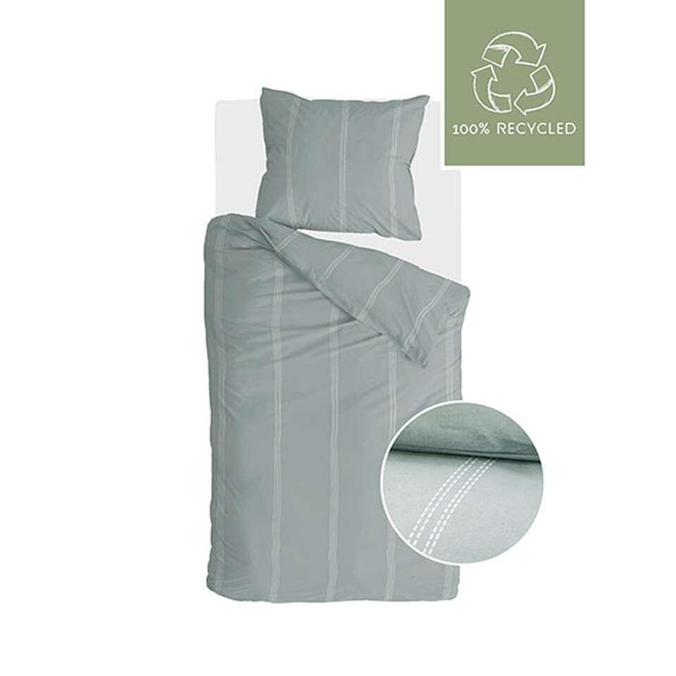 Walra dekbedovertrek Remade Cotton Blend - groen - 140x200/220 cm - Leen Bakker