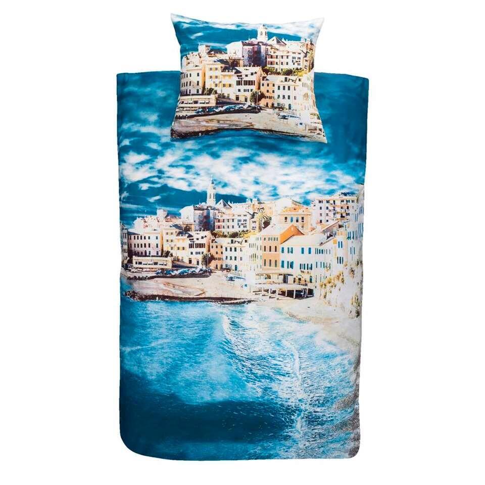 Essentials dekbedovertrek Dubrovnik - blauw - 240x200 cm - Leen Bakker