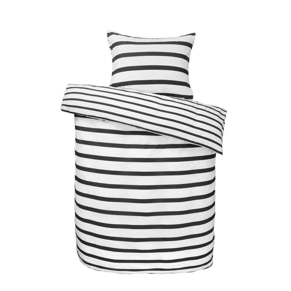Dekbedovertrek Kopenhagen - zwart/wit - 240x200 cm - Leen Bakker