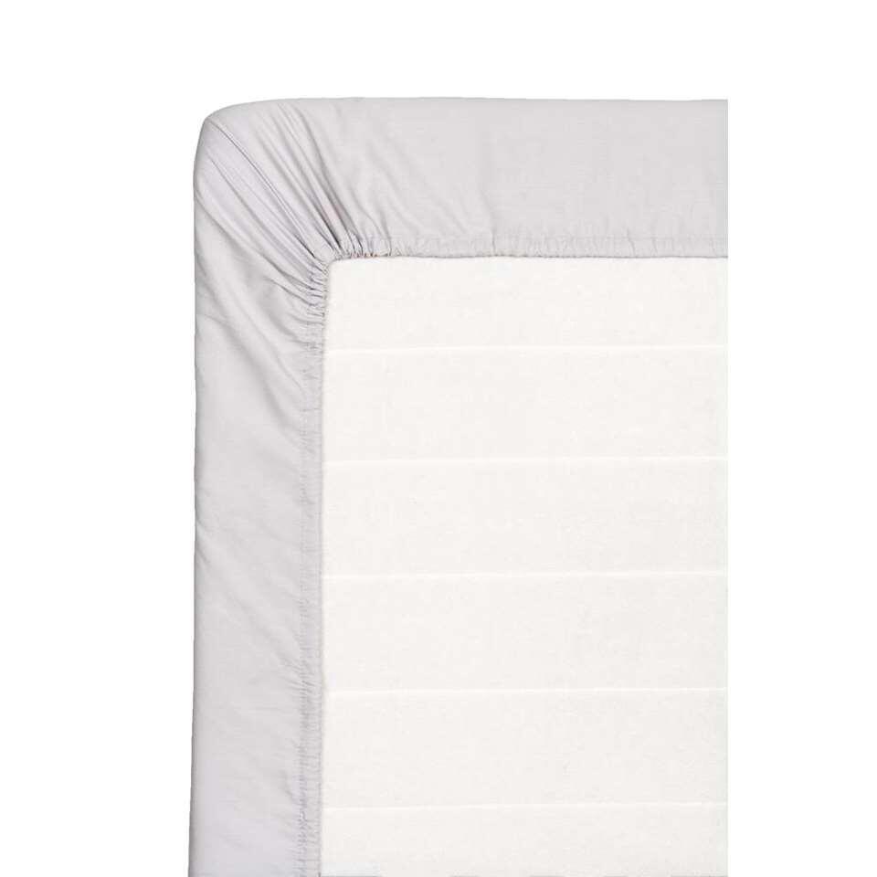 Hoeslaken percale katoen - grijs - 180x220 cm - Leen Bakker