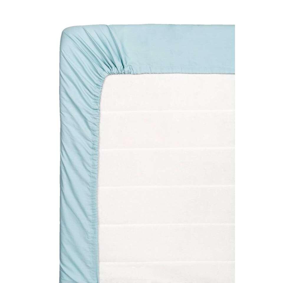 Hoeslaken percale katoen - steenblauw - 90x220 cm - Leen Bakker