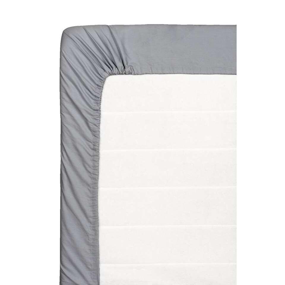 Hoeslaken percale katoen - antraciet - 90x220 cm - Leen Bakker