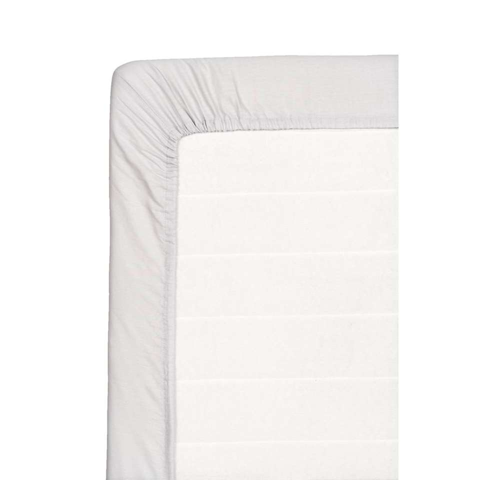 Hoeslaken katoen - grijs - 80x200 cm - Leen Bakker