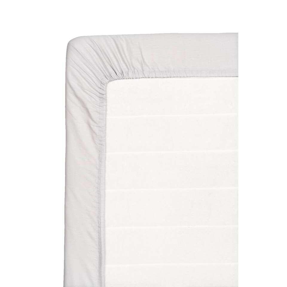 Hoeslaken katoen - grijs - 160x200 cm - Leen Bakker