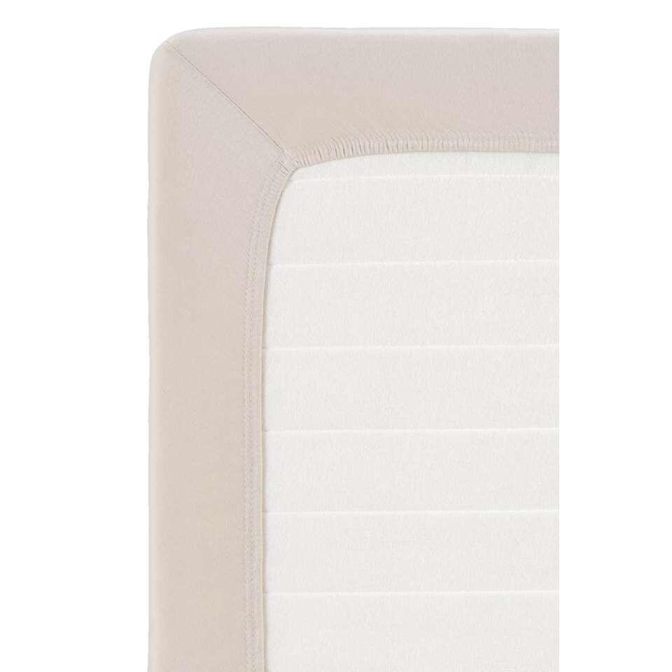 Hoeslaken topdekmatras jersey - zandkleur - 160x200 cm