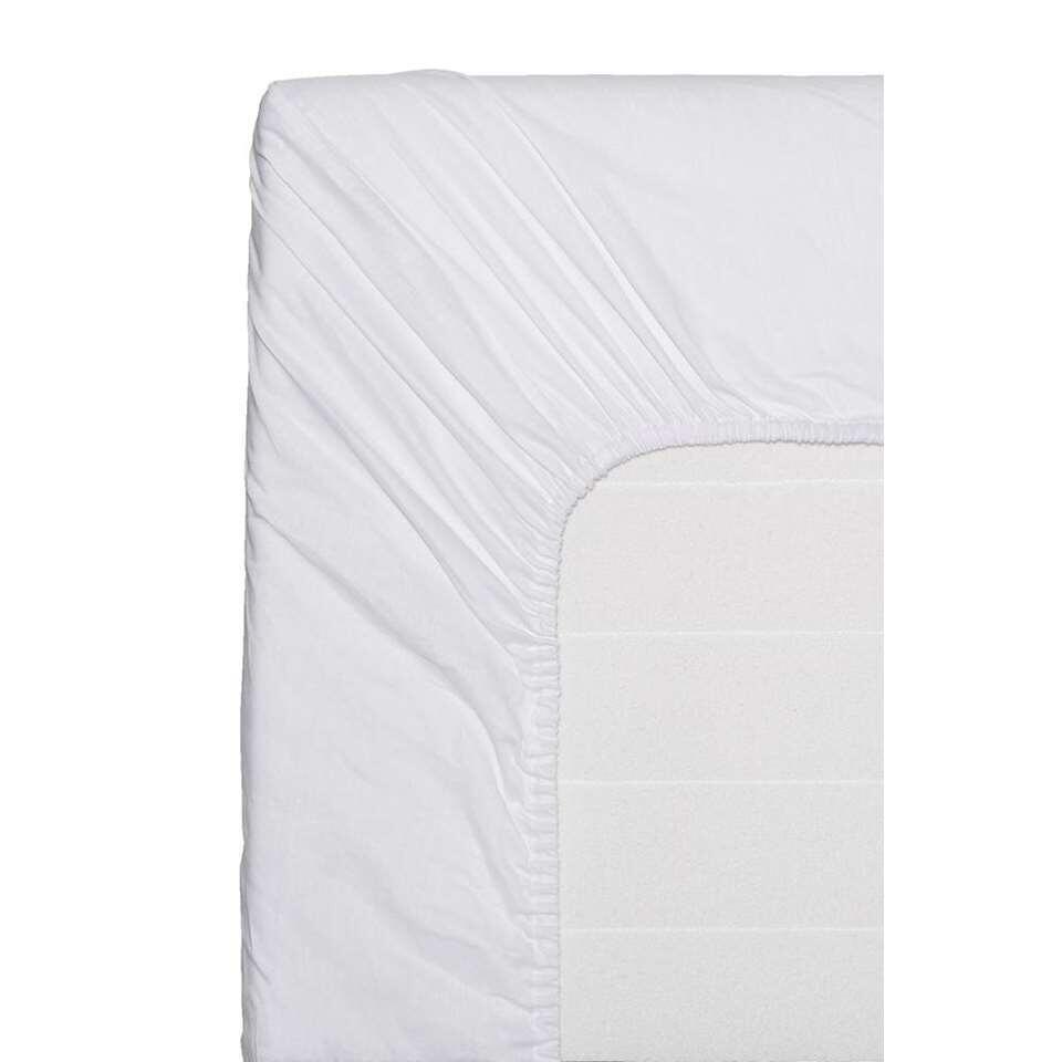 Easy hoeslaken katoen - wit - 160x200 cm