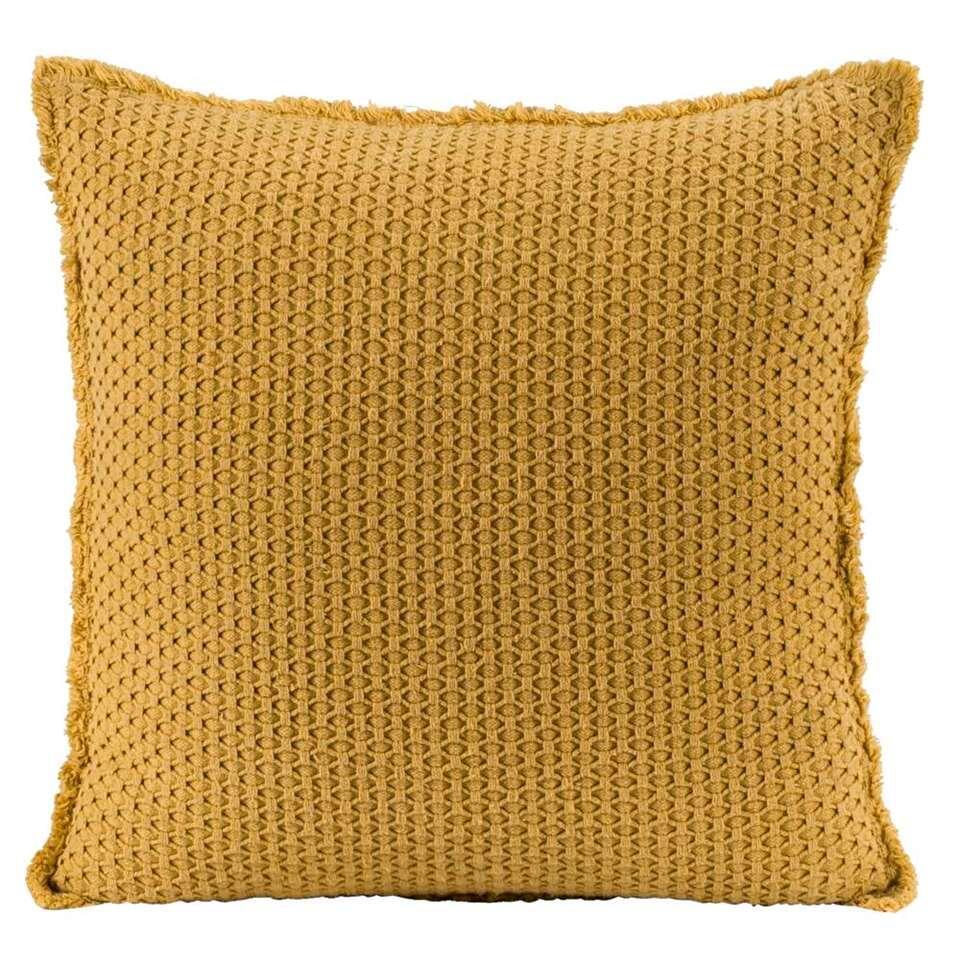 Sierkussen Tess - geel - 45x45 cm - Leen Bakker