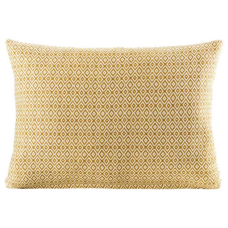 Sierkussen Mike is een heerlijk kussen met patroon in de kleuren off-white/geel. Dit sierkussen heeft een grootte van 35x50 cm, lig hier heerlijk tegenaan op de bank of leg het kussen als decoratie op een fauteuil.