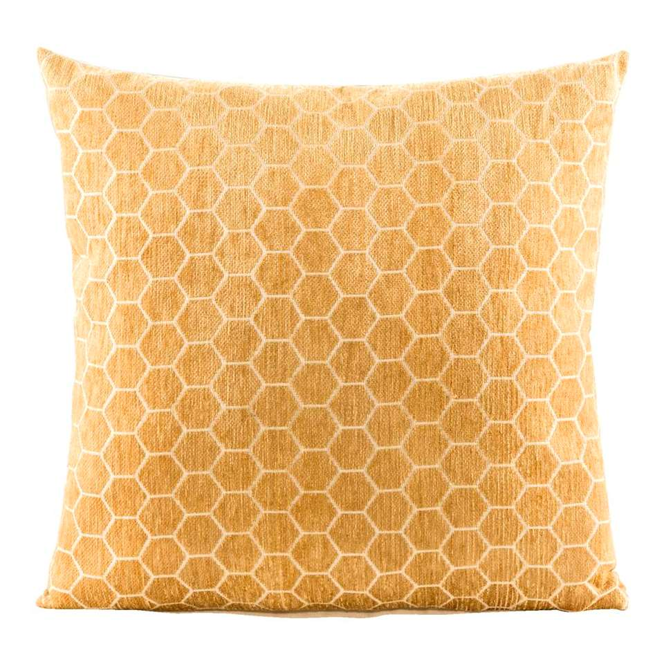 Sierkussen Felice is een sierlijk geel kussen. Felice is een echt eyecatcher kussen met een afmeting van 45x45 cm. Het sierkussen heeft aan de voorkant een opdruk in de kleuren geel/off-white. De achterkant is uni off-white.