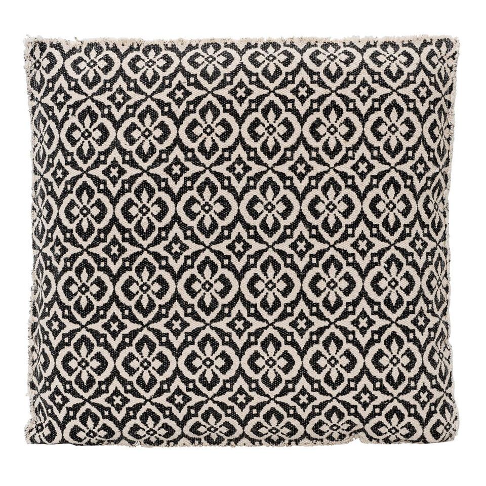 Matraskussen Aiden - zwart/off-white - 45x45x4 cm