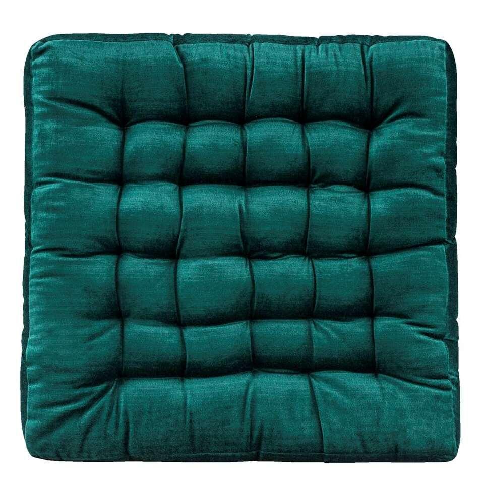 Matraskussen Jada - blauwgroen - 45x45x5 cm