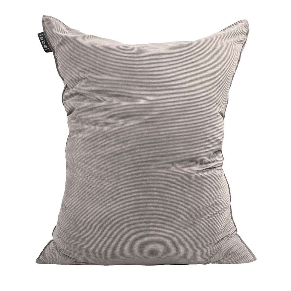 Zitzak - rib velours grijs - 100x150 cm