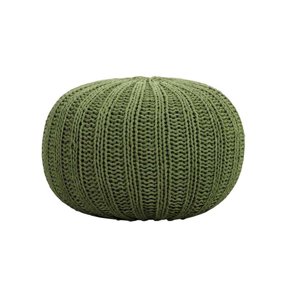 Poef Milou - groen - Ø46x32 cm - Leen Bakker