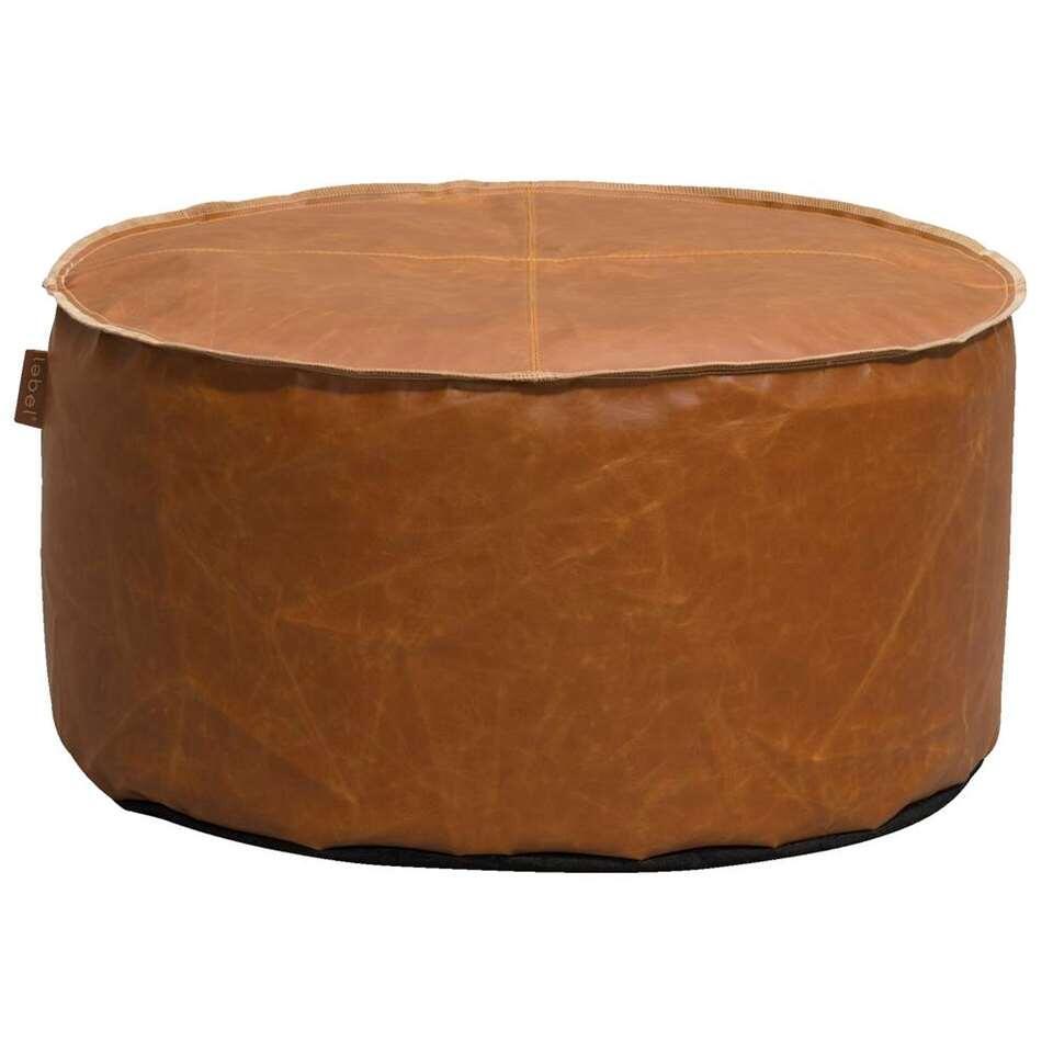 Lebel poef Jens - cognac - 60x30 cm - Leen Bakker