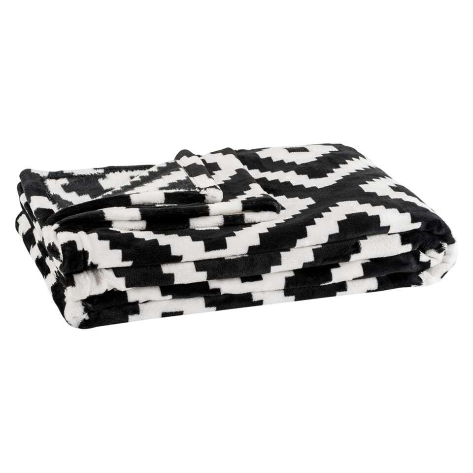 Plaid Zwart Wit.Plaid Robin Zwart Wit 130x170 Cm