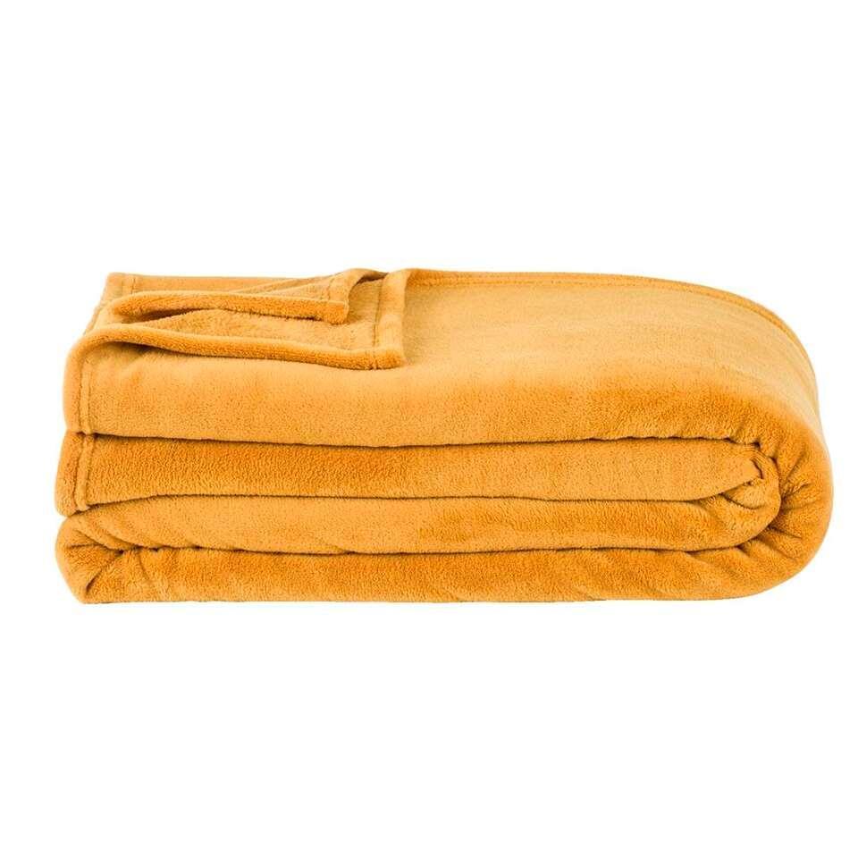 Plaid Niek XXL – geel – 240×220 cm – Leen Bakker