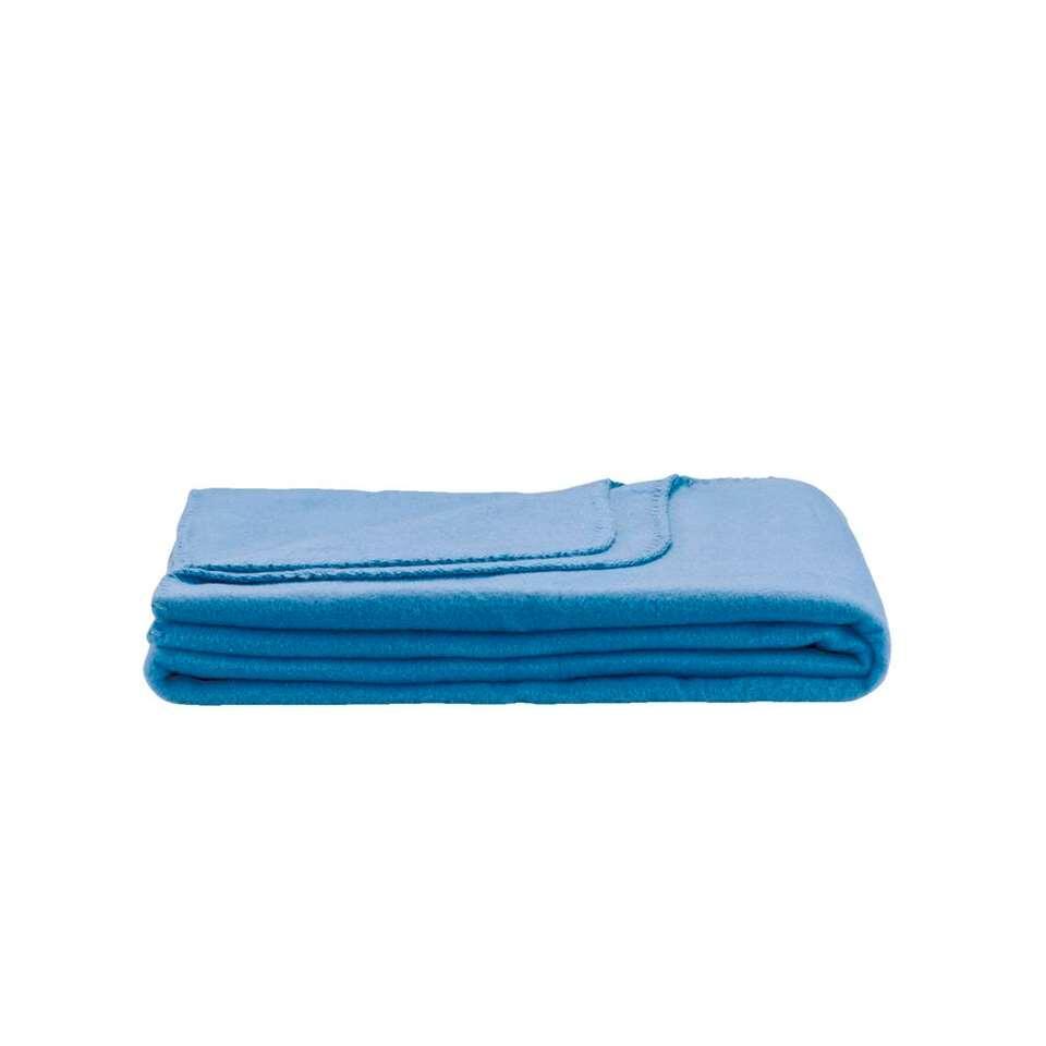 Fleeceplaid Basic – blauw – 125×150 cm – Leen Bakker