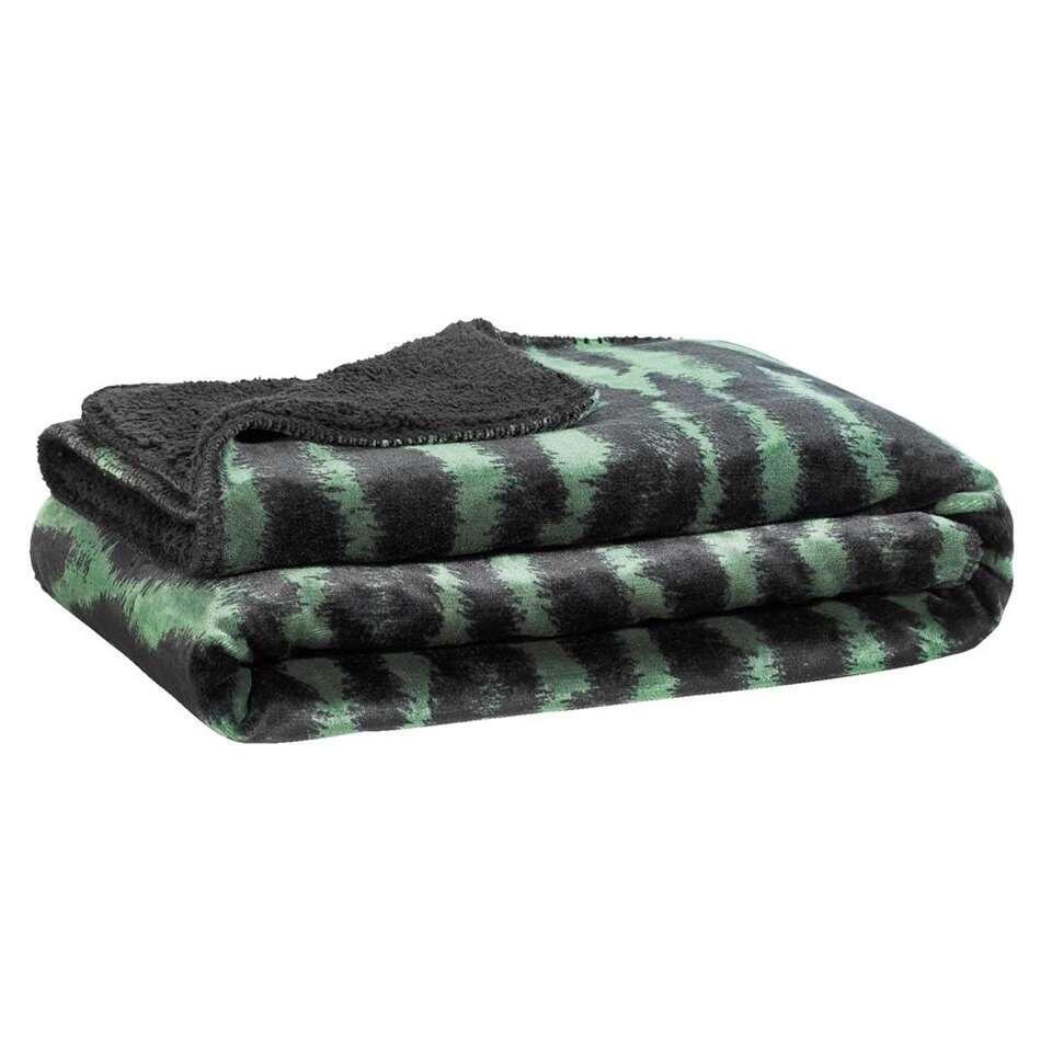 Plaid Arwin - zwart/groen - 130x160 cm - Leen Bakker