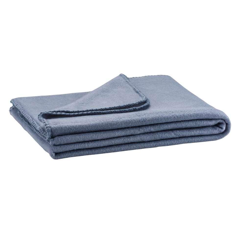 Fleeceplaid Basic - grijsblauw - 125x150 cm