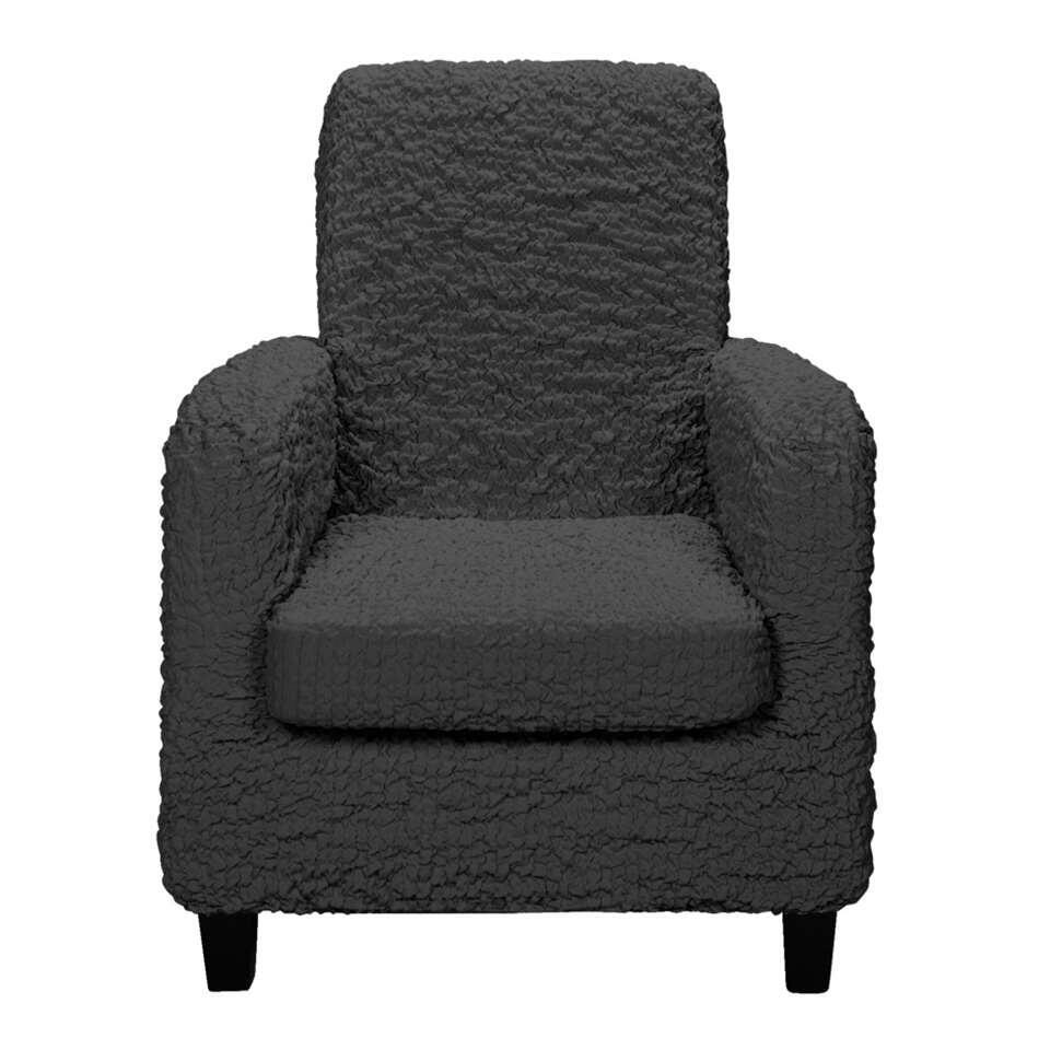 Bescherm je fauteuil met armleuningen tegen vlekken en schade met deze 1-zits meubelhoes Josefien. De hoes is in antracietkleur en is gemaakt van katoen, polyester en elastane. De afmeting van deze prachtige meubelhoes is 590x300x