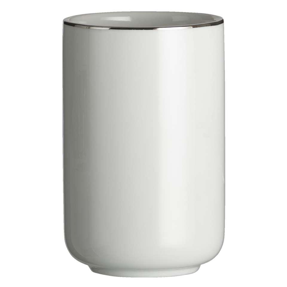 Kleine Wolke beker Noblesse - wit/zilverkleur - 7,5x11,5 cm - Leen Bakker
