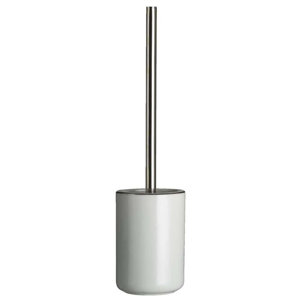 Kleine Wolke toiletborstelhouder Noblesse - wit/zilverkleur - 10x43 cm - Leen Bakker