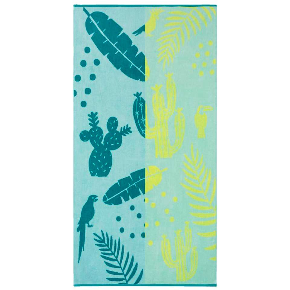 Kaat Amsterdam strandlaken Lemon drop - blauw/geel - 100x180 cm