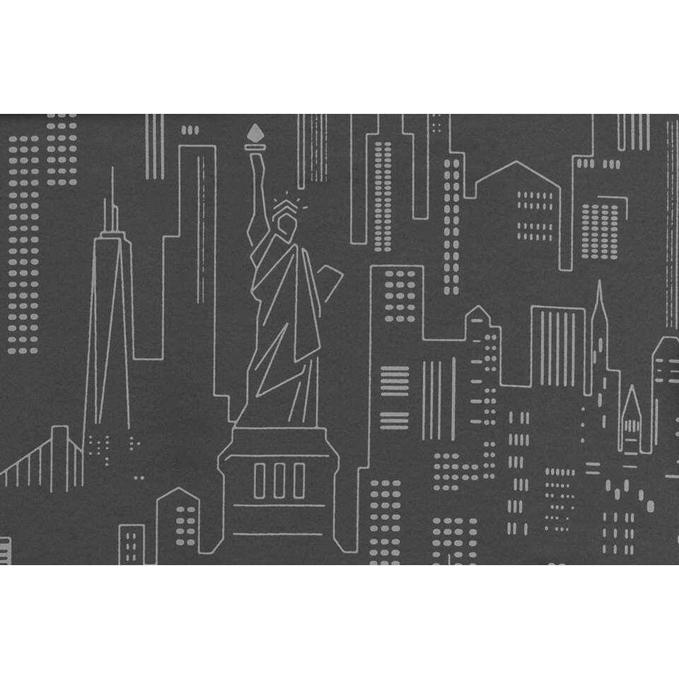 Gordijnstof New York - donkergrijs